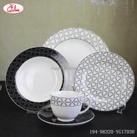 2017 new design black line flower decor dinner table set porcelain 20pcs