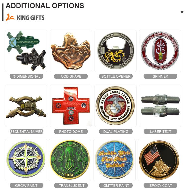 Photo dôme options logo personnalisé en laiton Pièces de Défi