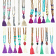 Wholesale Costume Jewelry Gemstone Beaded Tassel Necklace