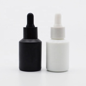 Whosale guangzhou 15ml 20ml 30ml frosted black white glass dropper bottle for oil packaging