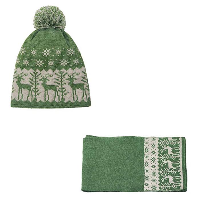 48836cf52902a Christmas Pom Pom Beanie Winter Warm Knit Cap Skully Scarf And Hat Set 100  Soft Polar Fleece Lined Custom Jacquard Beanie