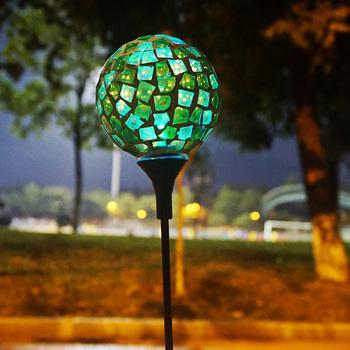 Charmant Mosaic Glass Ball Garden Light, Color Changing Solar Lawn/courtyard  Light,waterproof Solar