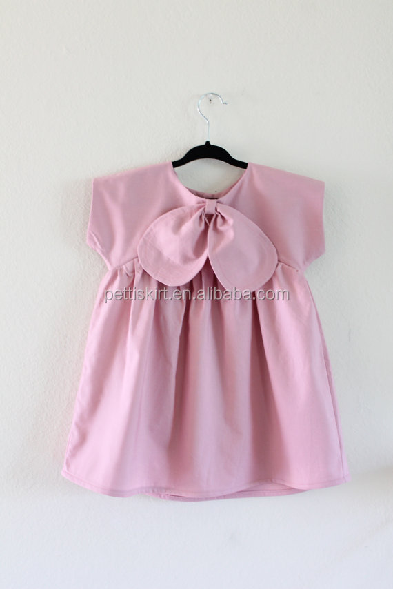 Whimsical and modern baby icing pink sleeveless dress girls oversized bow plain tunic