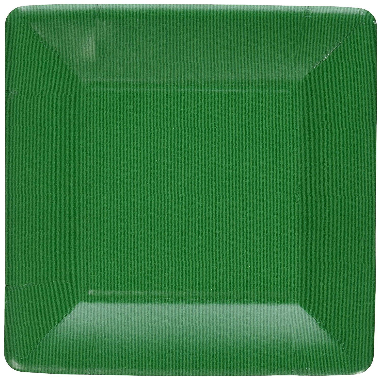Entertaining with Caspari Grosgrain Border Emerald Salad/Dessert Plates Square, 8-Pack
