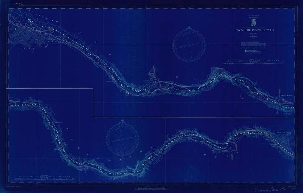 Vintography NOAA Blueprint Style 18 x 24 Nautical Chart New York State CANALS Lake Survey 55a