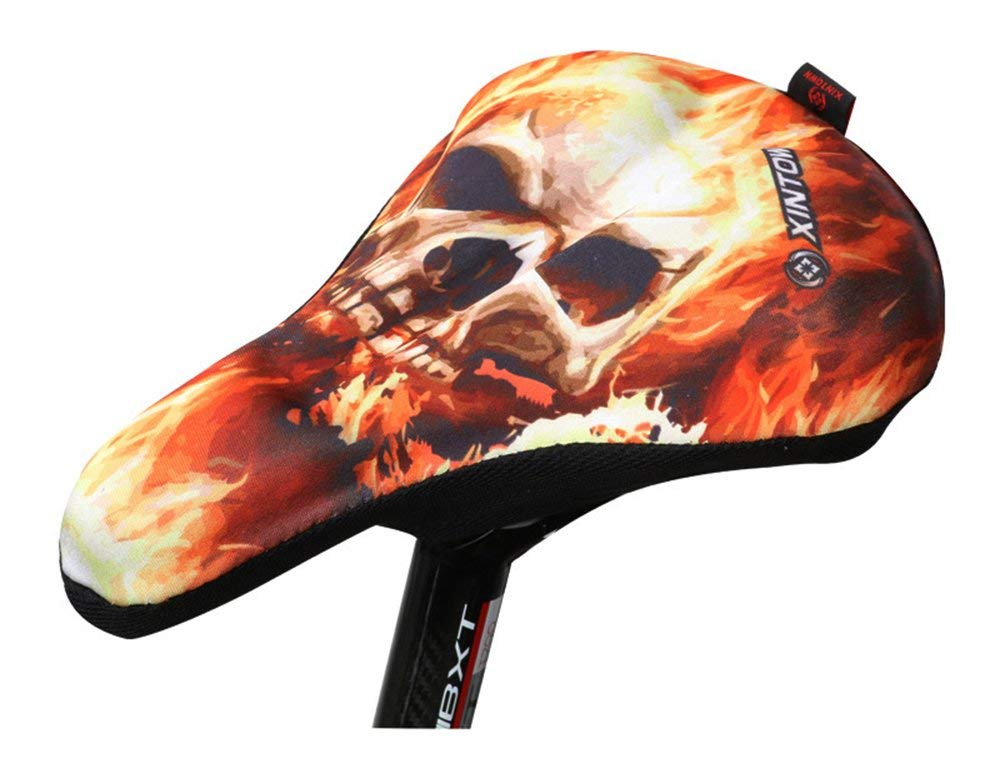 Unique 3D Skull Printed Bike Seat Cover, Soft Resilient Bicycle Cushion Cover for Mountain Bikes and Road Bikes