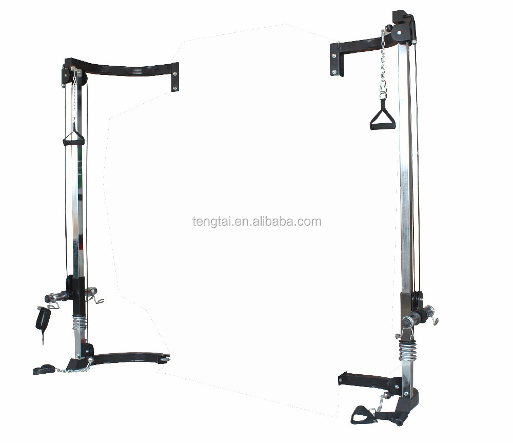 Home gym fitness rig cage with cable crossover attachment station