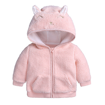 High quality winter new children's girls back two color hoodie fleece thick boy and girl baby winter coat