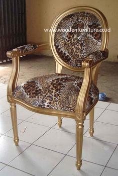 Leopard Animal Print Silla Antigua Silla De Comedor Reproducción ...