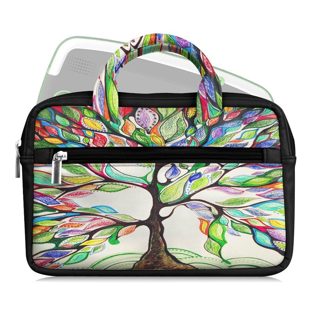 6 - 8 Inch Kids Tablet Sleeve - Fintie Vegan Leather Carrying Travel Bag Case for iPad Mini, Samsung Galaxy, ASUS, Google Nexus, Dragon Touch, LeapFrog, nabi Jr. w/ Accessory Pocket, Love Tree