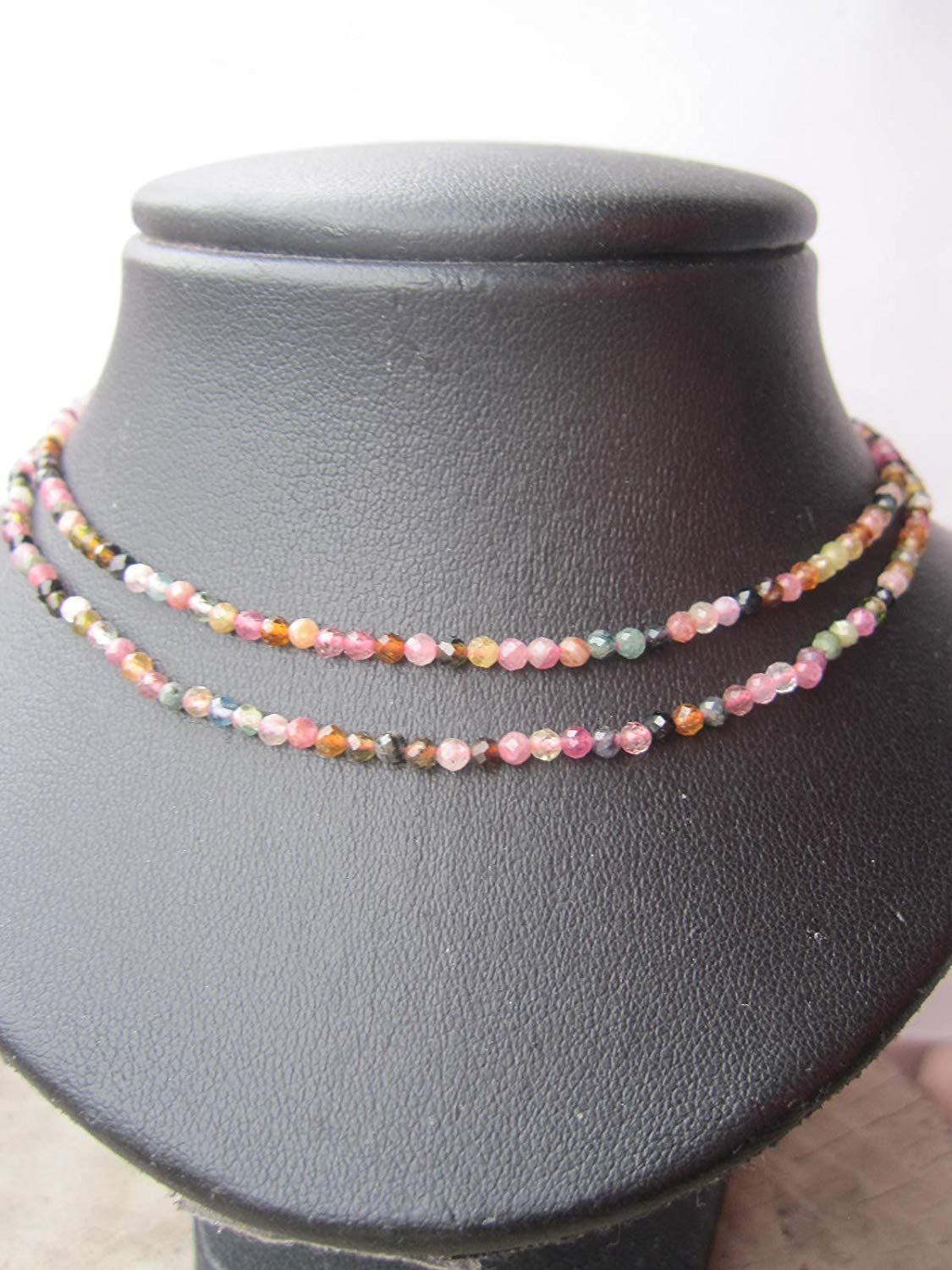 2 mm,Multi Color Double Strand Tourmaline Necklace,October Birthstone Necklace,925 sterling silver 1 inch extender - Size 15,16,17,18, 20 - Custom size