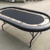 84inch deluxe poker table with metal folding legs and stainless steel cups