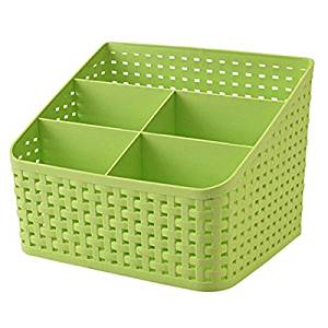Imitation Rattan Colorful Multifunctional Cosmetics Remote Control Desktop Storage Basket(Green)
