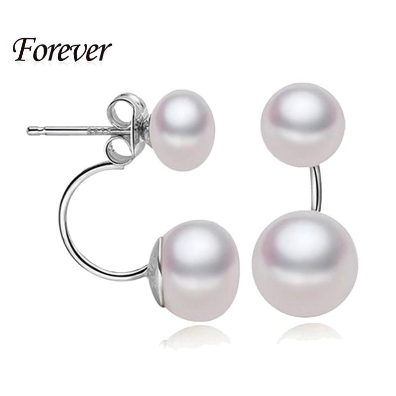 2015 Fashionable Double Pearl Earrings 100 Genuine