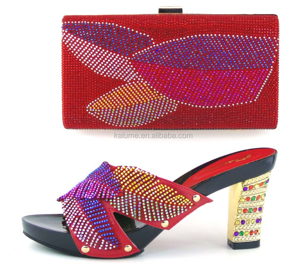 Party High Heel 42 And Red For Bag TH16 Color Set Women Shoes Arrival In 2017 Nigerian Sexy New nqAZgTwX