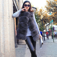 Best Choose Women Long Vest Luxury Winter Fox Fur Waistcoat Grade 100% Real Fox Fur Vest