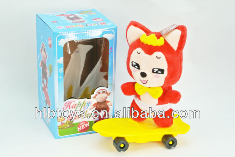 New arriving,Plush musical doll with scooter,Funny Plush Doll