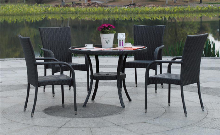 Chair with stainless steel frame rattan dining new outdoor furniture set