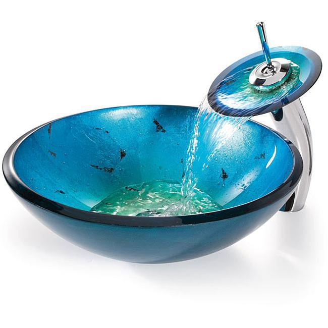 Bathroom lavatory Glass Basin Bowl Sink Combo With Mixer Brass ORB Faucet Taps