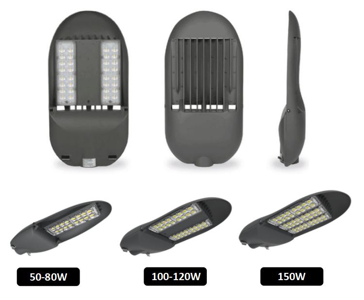 Shenzhen levou preço 150 w ultra slim 180 w IP65 luminária ao ar livre de fundição de alumínio levou luz da rua com fotocélula
