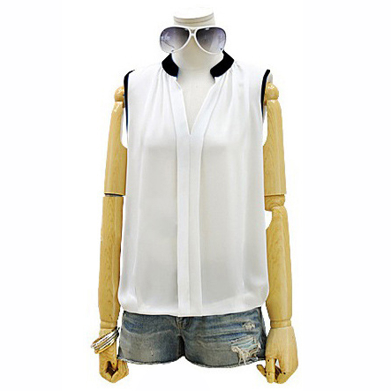 Women Blouses 2015 Summer Style Chiffon Blouse Sleeveless White Ladies Casual Shirts Tops Plus Size Camisa Blusas Feminina WB070