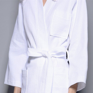 Wholesale 100% Cotton Bathrobe Unisex Dressing Gown Hotel Waffle Robes
