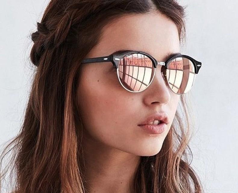 e81a6f20f7 Half Frame Club Round Sunglasses Women Men Retro Fashion Brand Designer  Mirror Sunglasses For Ladies Vintage
