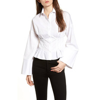 Wholesale T-shirt Manufacturers In Guangzhou Tuck Waist Corset Lady Shirt For Women
