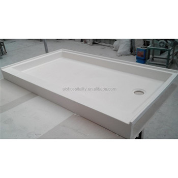 "60''x30""x3"" Rectangle Off-set Drain Cultured Marble Shower Pan with Textured non slip Floor"
