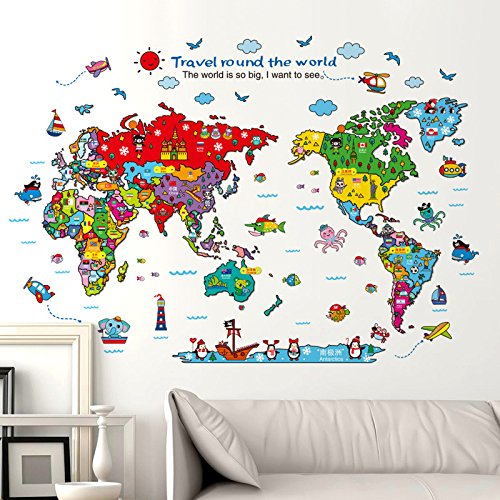 Cartoon Background Colorful English Words World Map Wall Art Decals Stickers Vinyl For Kids Rooms Parlour Television Wall Home (colourful)