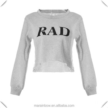 a8fe762dca561 Womens Causal Sport Loose Fit Letter Print Crop Top Long Sleeve Crew Neck Cropped  Sweatshirts with
