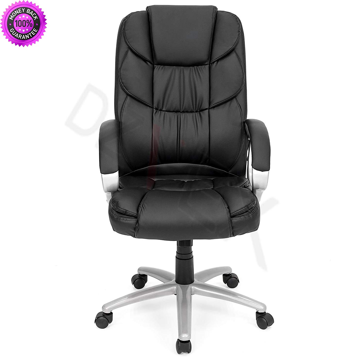 DzVeX_Ergonomic PU Leather High Back Office Chair, Black And Stacking Chairs  Waiting Room Chairs Office