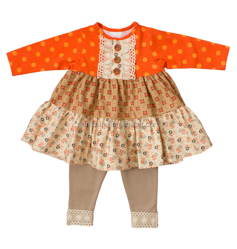 Wholesale toddler girls fall boutique outfits childrens orange polka dots tunic and pants clothes sets