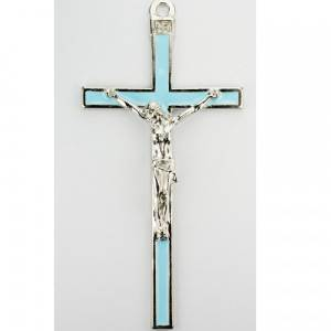 """5"""" Blue Enamel Crucifix with Blue Bow & Box. Great for First Communion, Christening, Baptism or Baby Shower Gift. Wall Cross Keepsake 5 1/2"""" Silver with Blue Enamel."""