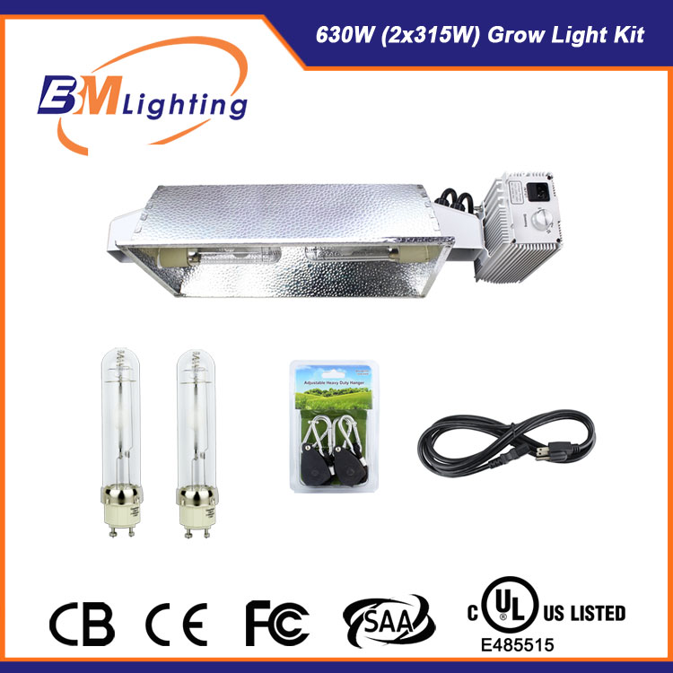 CMH 630watt 2*315w double outs digital electronic ballast grow lighting kits with dimmer knob