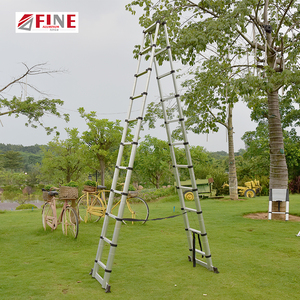 Aluminum telescopic multipurpose ladder with two side folding ladder A type