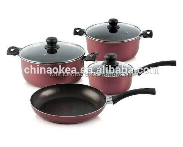 Wine color non-stick cookware set with black bakelite handle kitchen cookware pans