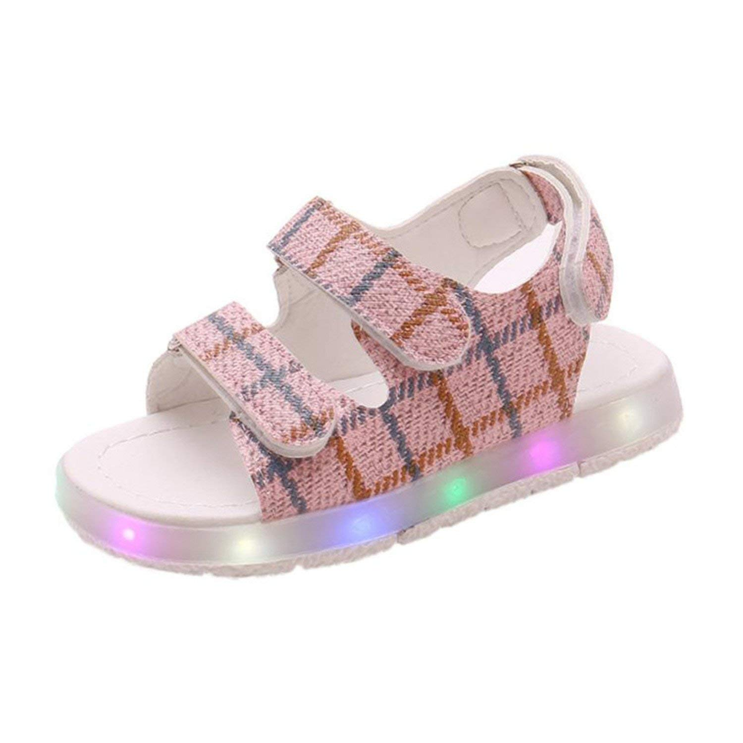 Toddler Kids Sport Summer Boys Girls Baby Sandals LED Luminous Shoes Sneakers Flip Flops Flat Heels Soft S3APR18