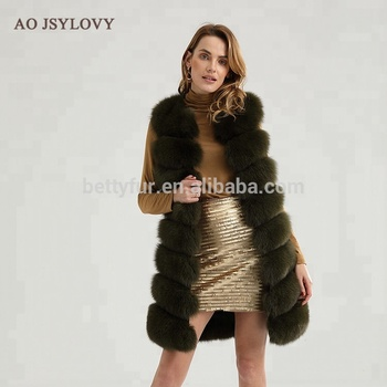 100% real natural sleeveless western style fluffy fitted real fox fur vest