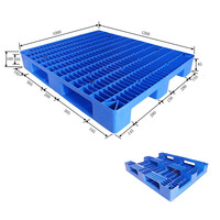 Single face anti-slip rubber inserted euro size 3 runners Stackable HDPE plastic pallet