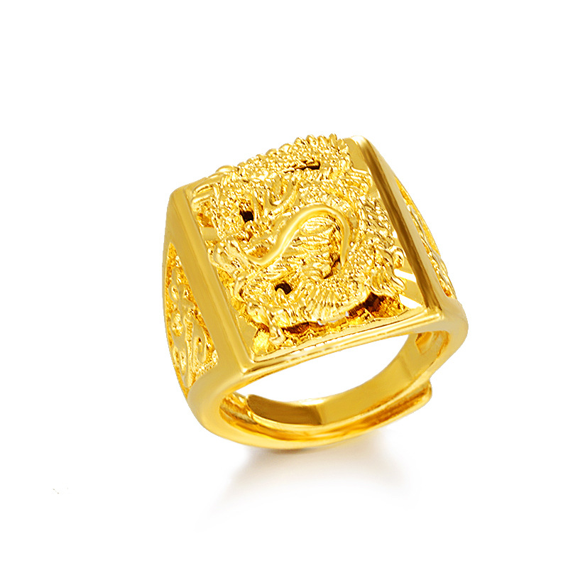 Vietnam sand gold gold dragon price ring printing brass gold plated opening signet ring