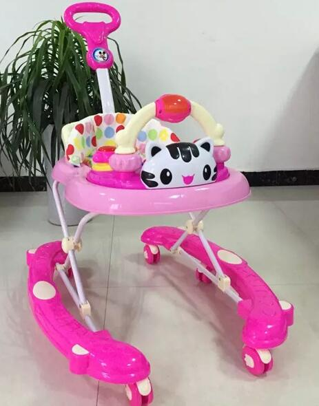 2017 new design cartoon music baby walker with push bar babies walking chairs OEM manufacturer