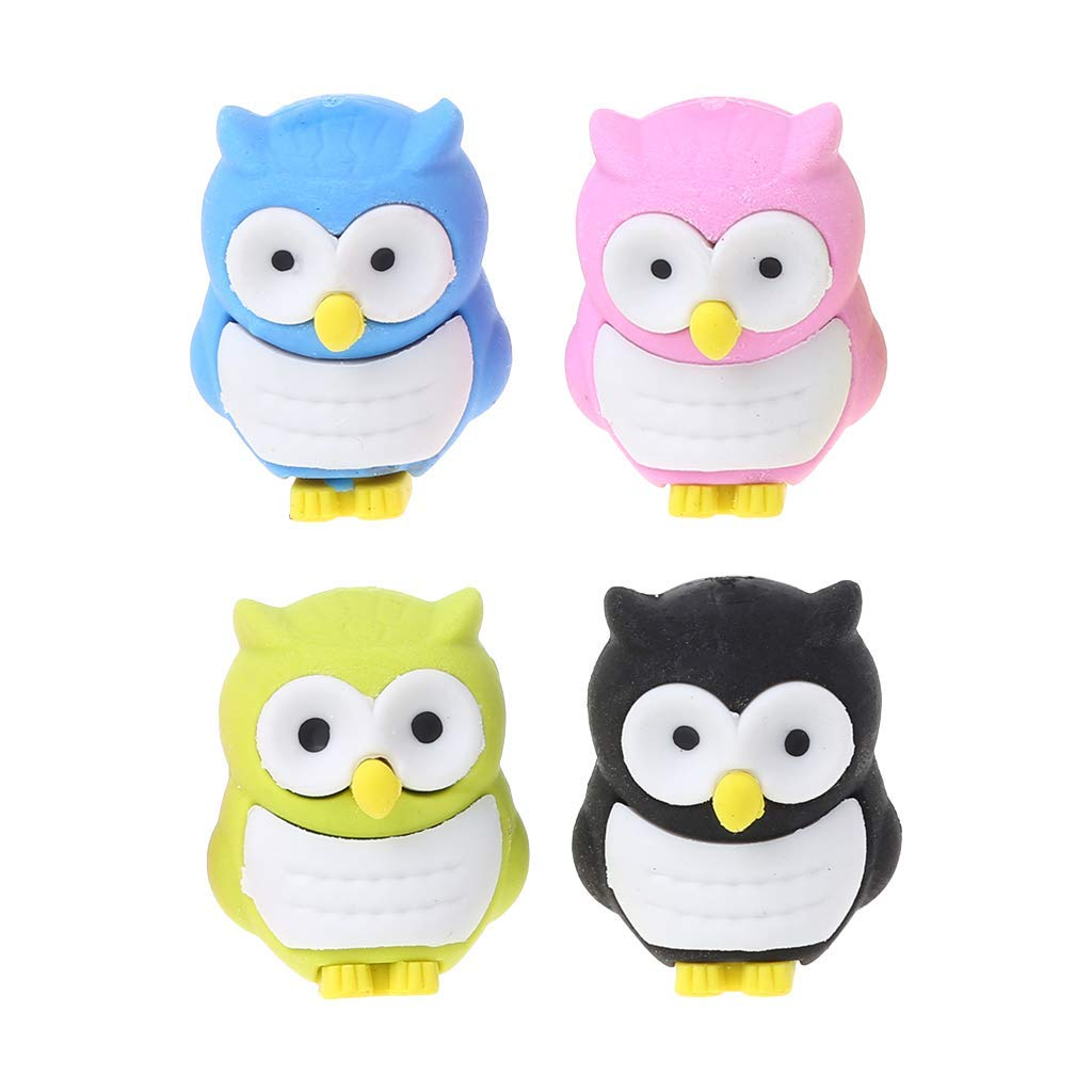 Wodwad 1PC Pencil Eraser,Creative 3D Owl Eraser Rubber Pencil Stationery Stationery Gift School Supplies