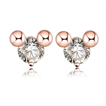 036d33676f307 Cute Zircon Minnie Mouse Stud Earrings Real 18k Rose Gold Plated Lovely  Gift Jewelry Girls Accessories Er0169-a - Buy Zircon Jewelry,Minnie Mouse  ...
