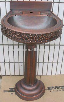 Copper Pedestal Sink/Bathroom Sink/Copper Sink/Classical Sink/Oval Copper  Sink