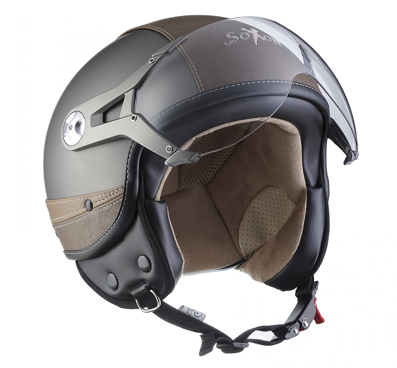 SOXON SP-325-URBAN Blue /· Jet-Helm Retro Biker Chopper Mofa Helmet Roller-Helm Pilot Cruiser Motorrad-Helm Vintage Vespa-Helm Bobber Scooter-Helm /· ECE zertifiziert /· Leder Design /· mit Visier /· inkl Stofftragetasche /&mi