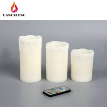 Popular colour flame candle changing wax candles flameless led ivory color with remote