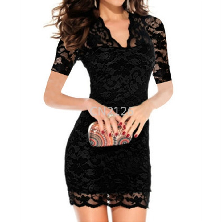 Get Quotations · Women Sexy Bodycon Dress Short Sleeve low-cut Mini Dress  Lace V-neck Bag 6079ba615