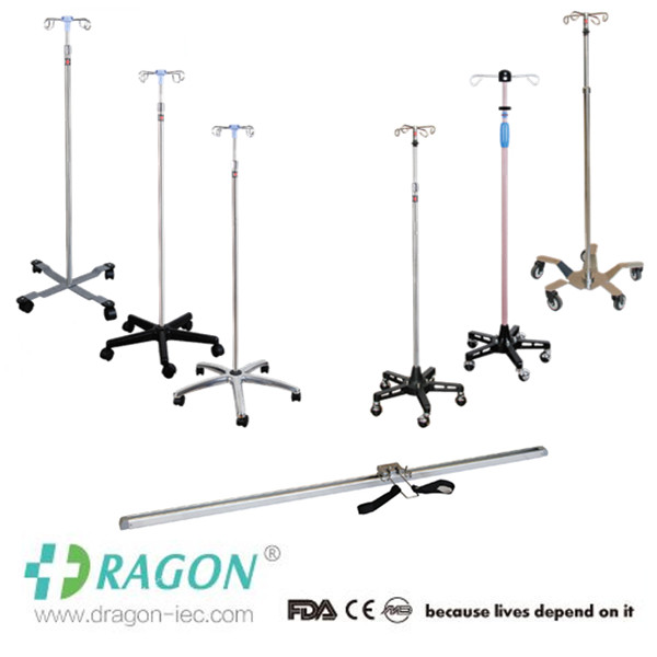 DW- Manufecturer direct sale hospital use steel based flexible mobile iv stands with wheels