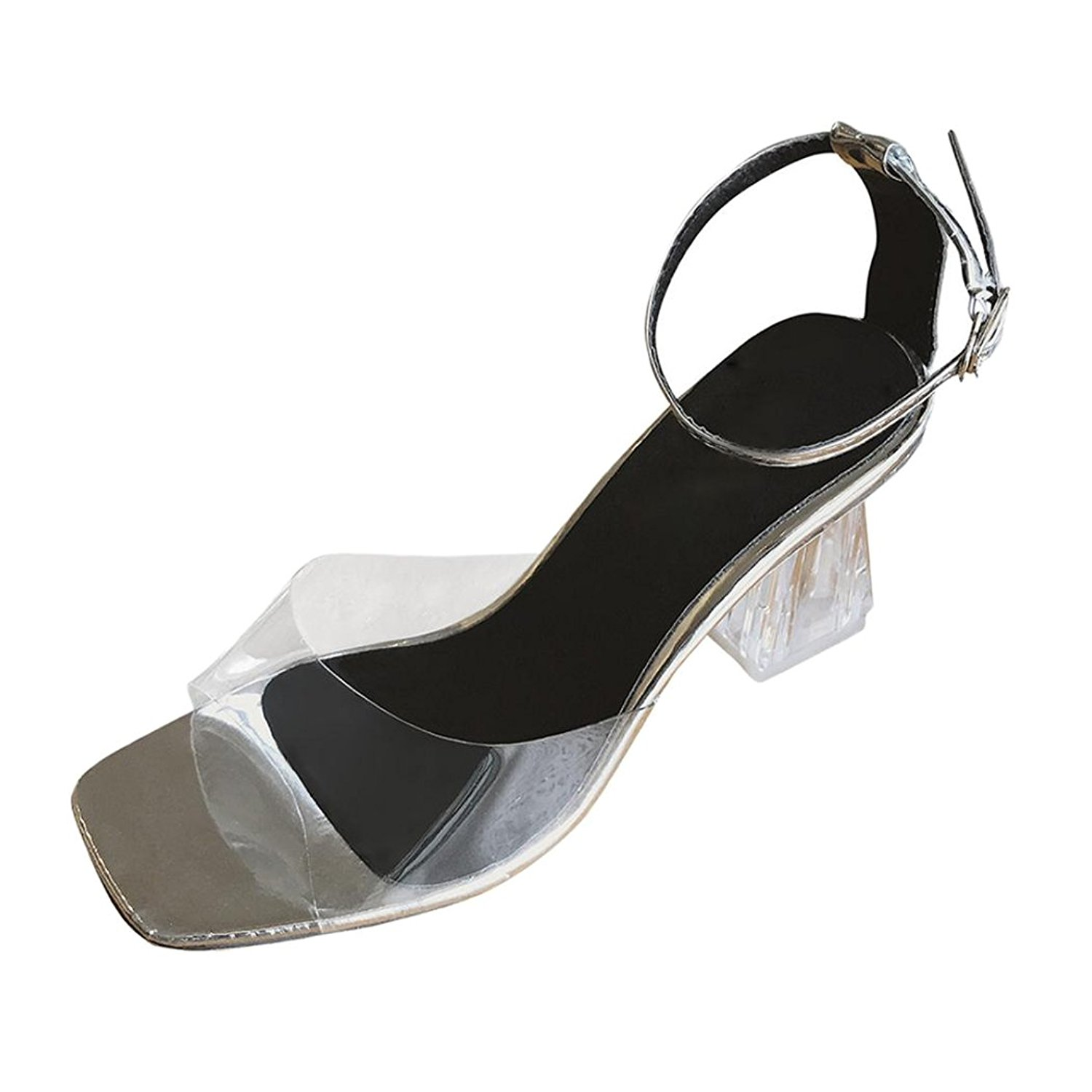 9921ea2b39ee4 Inkach Womens Wedges Sandals - Ladies Summer Sandals Chunky High Heels  Sandals - Transparent Ankle Wrap Buckle Shoes